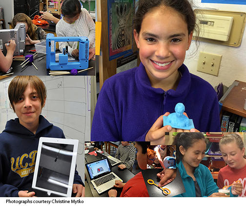 Students at work with their 3-D printing projects