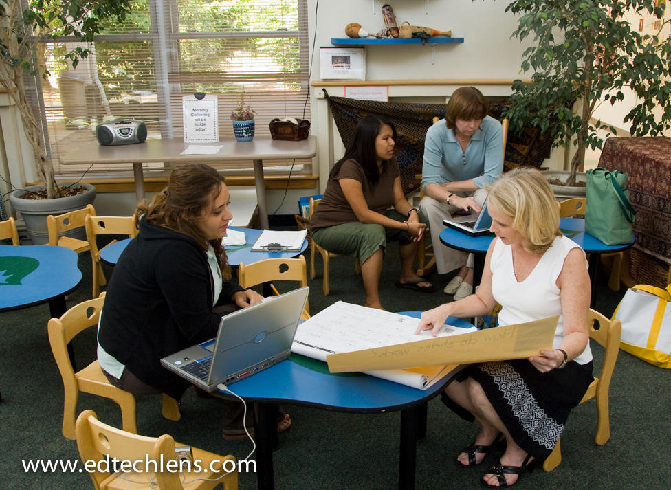 Teacher teams meeting and discussing