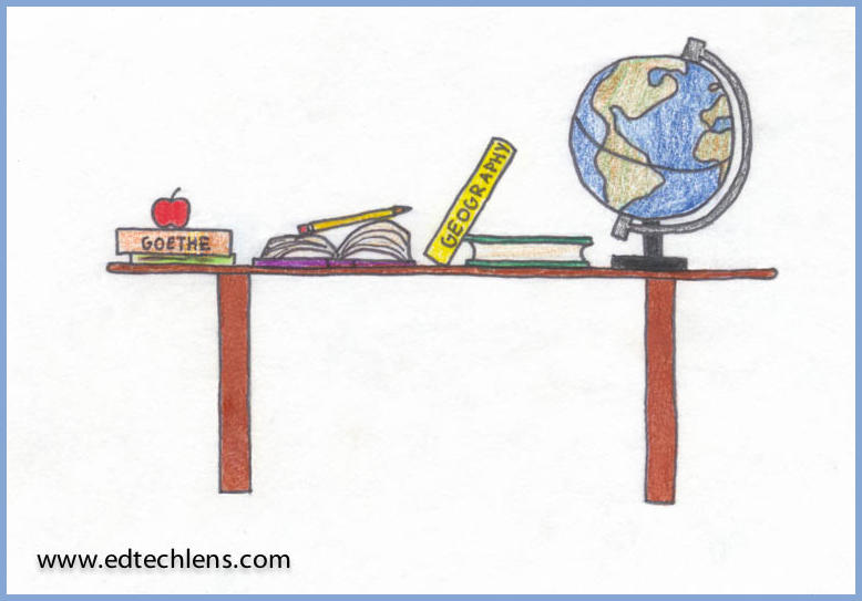 Illustration of school books and a globe on a book shelf