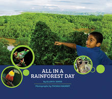 Book cover shows young child pointing out to a view of the rainforest.
